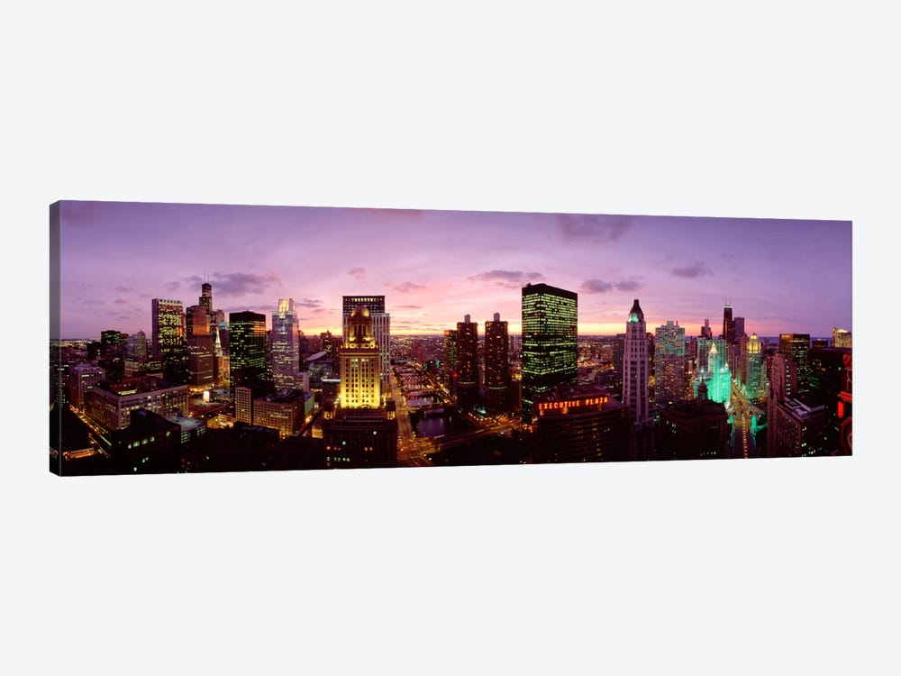 Skyscrapers In A City At Dusk, Chicago, Illinois, USA by Panoramic Images 1-piece Canvas Artwork