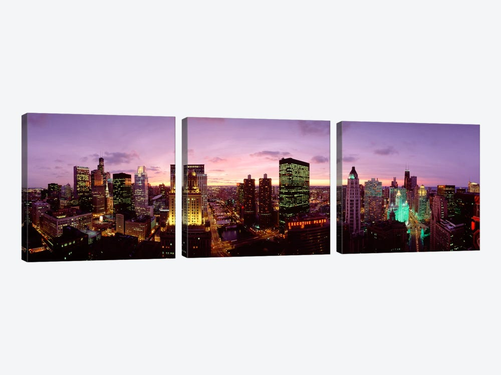 Skyscrapers In A City At Dusk, Chicago, Illinois, USA by Panoramic Images 3-piece Canvas Wall Art