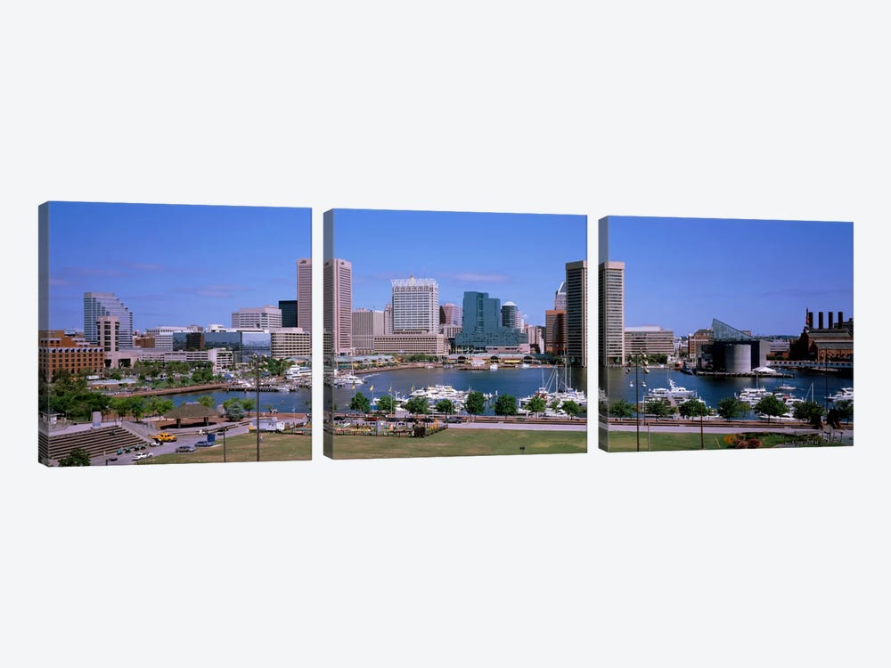 Inner Harbor Skyline Baltimore MD USA by Panoramic Images 3-piece Canvas Artwork