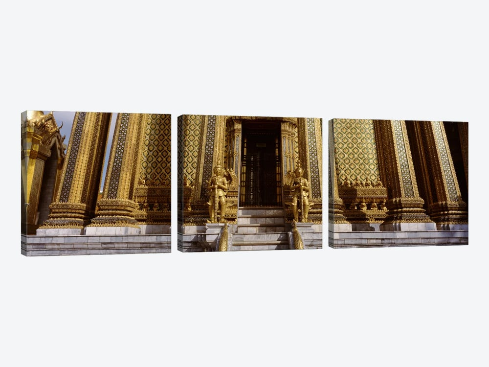 Low angle view of statues in front of a temple, Phra Mondop, Grand Palace, Bangkok, Thailand by Panoramic Images 3-piece Canvas Wall Art