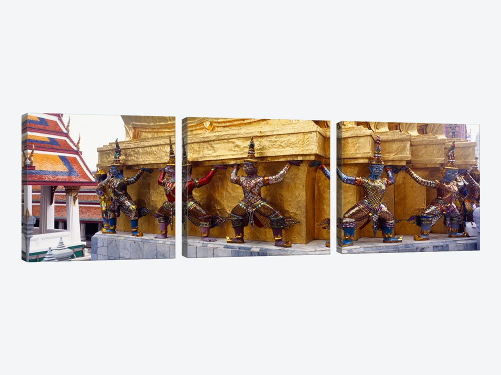 Statues at base of golden chedi, The Grand Palace, Bangkok, Thailand 3-piece Canvas Art Print