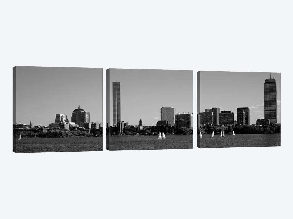 MIT Sailboats, Charles River, Boston, Massachusetts, USA by Panoramic Images 3-piece Canvas Wall Art