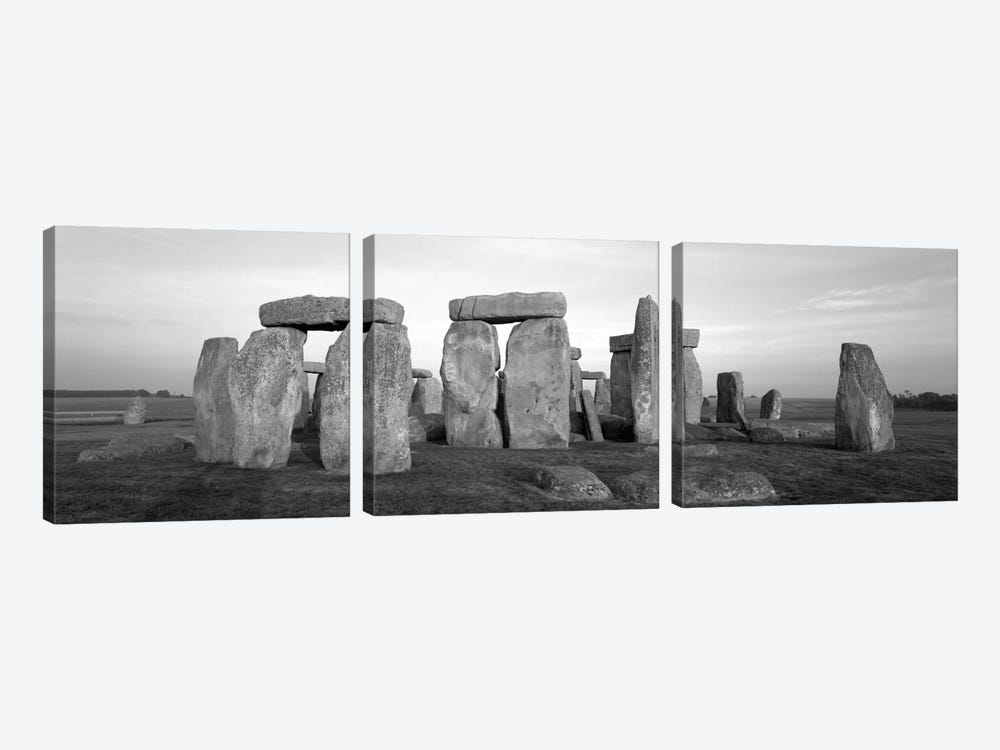 England, Wiltshire, Stonehenge (black & white) by Panoramic Images 3-piece Canvas Wall Art