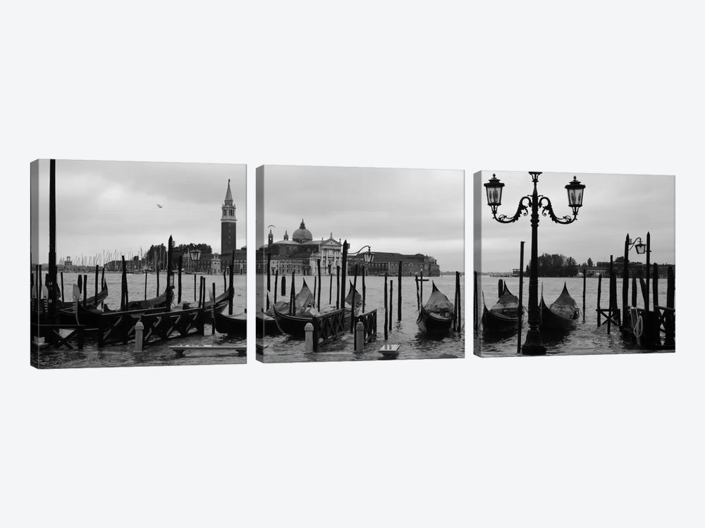 Gondolas with a church in the background, Church Of San Giorgio Maggiore, San Giorgio Maggiore, Venice, Veneto, Italy 3-piece Canvas Print