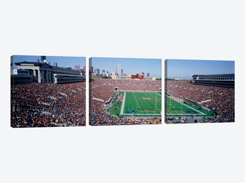 FootballSoldier Field, Chicago, Illinois, USA 3-piece Canvas Art Print