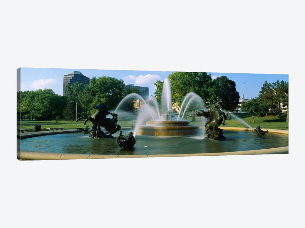 Fountain in a garden, J C Nichols Memorial Fountain, Kansas City, Missouri, USA by Panoramic Images 1-piece Canvas Print