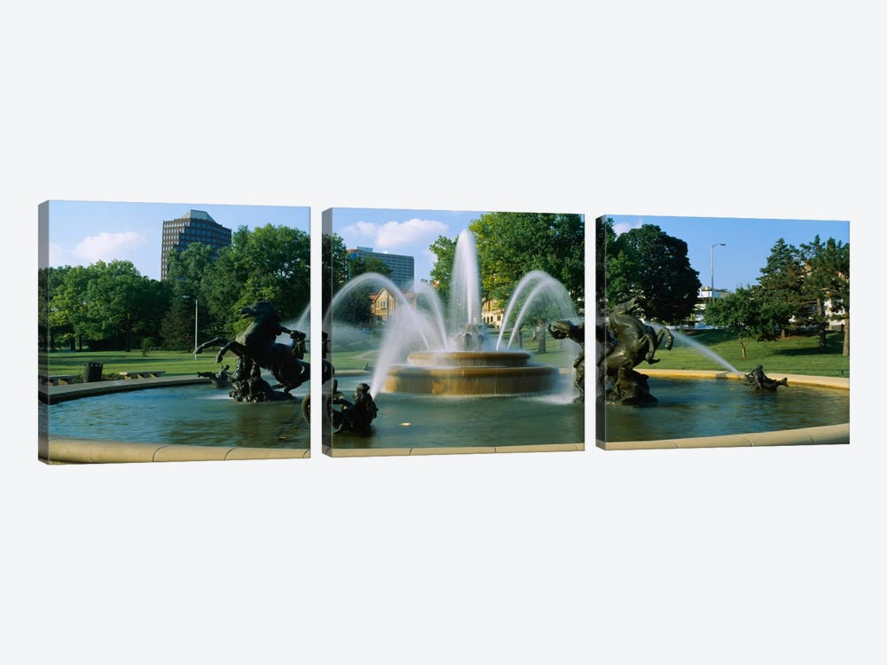 Fountain in a garden, J C Nichols Memorial Fountain, Kansas City, Missouri, USA by Panoramic Images 3-piece Canvas Print