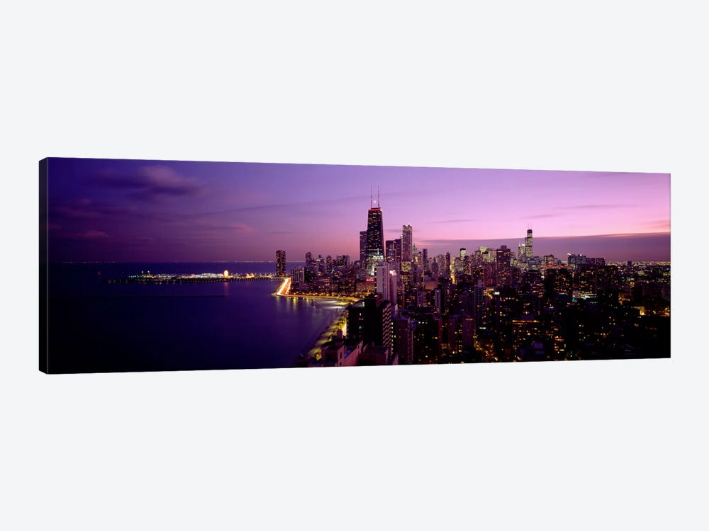 Buildings Lit Up At NightChicago, Illinois, USA by Panoramic Images 1-piece Canvas Art