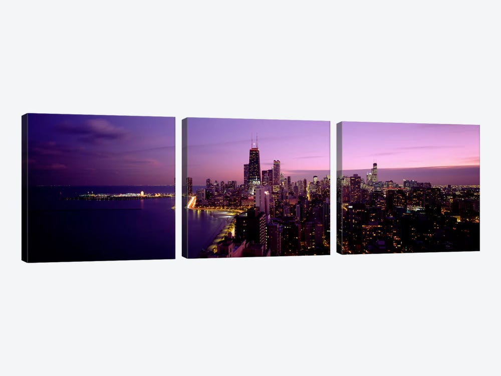 Buildings Lit Up At NightChicago, Illinois, USA by Panoramic Images 3-piece Canvas Art