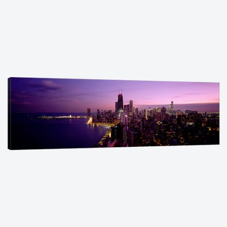 Buildings Lit Up At NightChicago, Illinois, USA Canvas Print #PIM1962} by Panoramic Images Canvas Wall Art