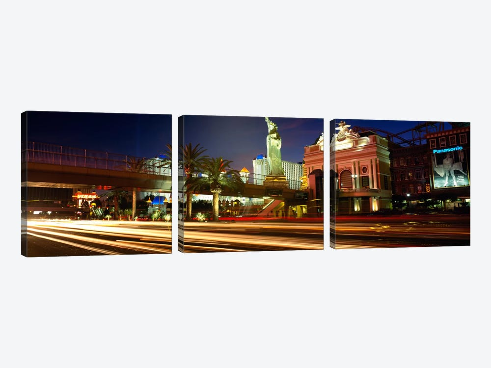 Traffic on a road, Las Vegas, Nevada, USA by Panoramic Images 3-piece Canvas Print