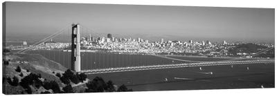 High angle view of a suspension bridge across the sea, Golden Gate Bridge, San Francisco, California, USA Canvas Art Print