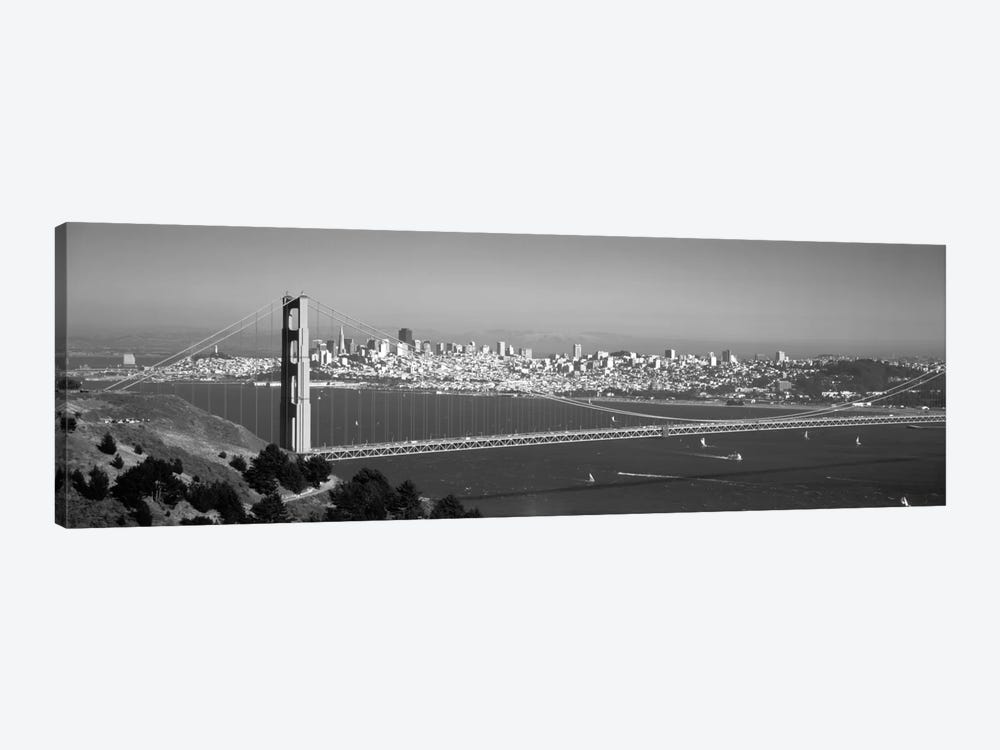 High angle view of a suspension bridge across the sea, Golden Gate Bridge, San Francisco, California, USA by Panoramic Images 1-piece Canvas Art