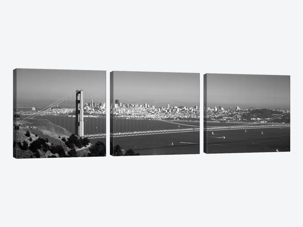 High angle view of a suspension bridge across the sea, Golden Gate Bridge, San Francisco, California, USA by Panoramic Images 3-piece Canvas Art