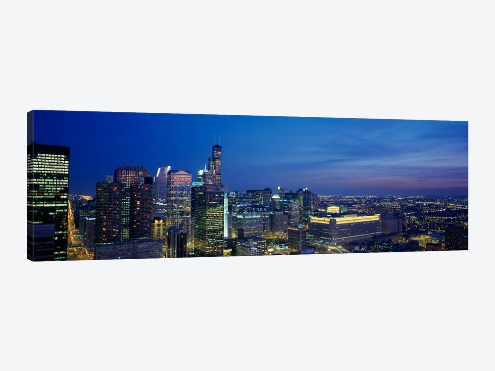 USA, Illinois, Chicago, twilight 1-piece Canvas Wall Art