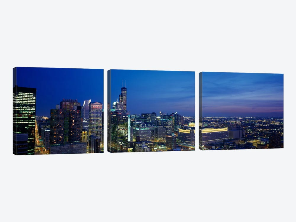 USA, Illinois, Chicago, twilight by Panoramic Images 3-piece Canvas Artwork