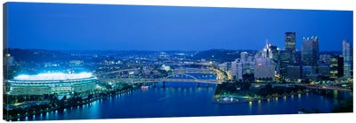 High angle view of a stadium lit up at nightThree Rivers Stadium, Pittsburgh, Pennsylvania, USA Canvas Art Print