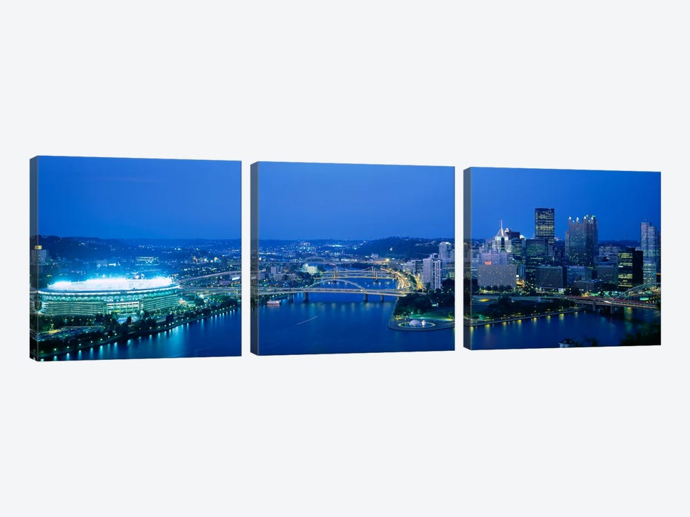 High angle view of a stadium lit up at nightThree Rivers Stadium, Pittsburgh, Pennsylvania, USA by Panoramic Images 3-piece Canvas Art Print