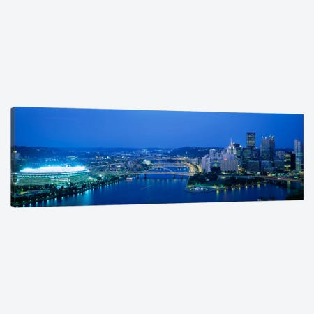 High angle view of a stadium lit up at nightThree Rivers Stadium, Pittsburgh, Pennsylvania, USA Canvas Print #PIM1970} by Panoramic Images Canvas Art Print