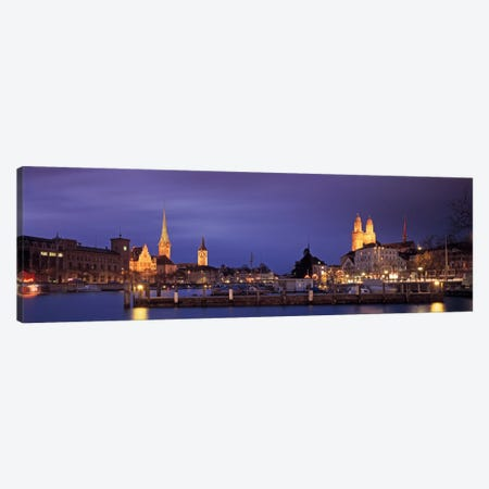 District 1 Architecture At Night, Zurich, Switzerland Canvas Print #PIM1972} by Panoramic Images Canvas Art Print