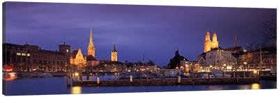 District 1 Architecture At Night, Zurich, Switzerland Canvas Art Print