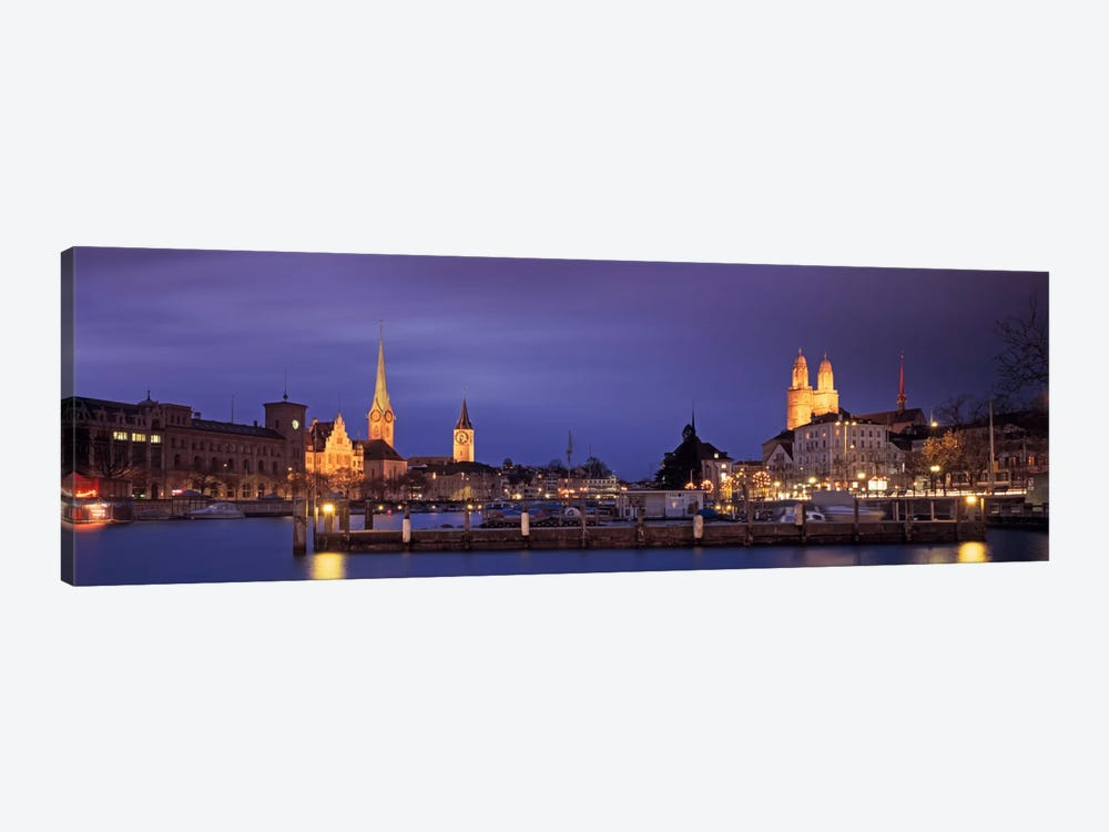 District 1 Architecture At Night, Zurich, Switzerland by Panoramic Images 1-piece Canvas Print