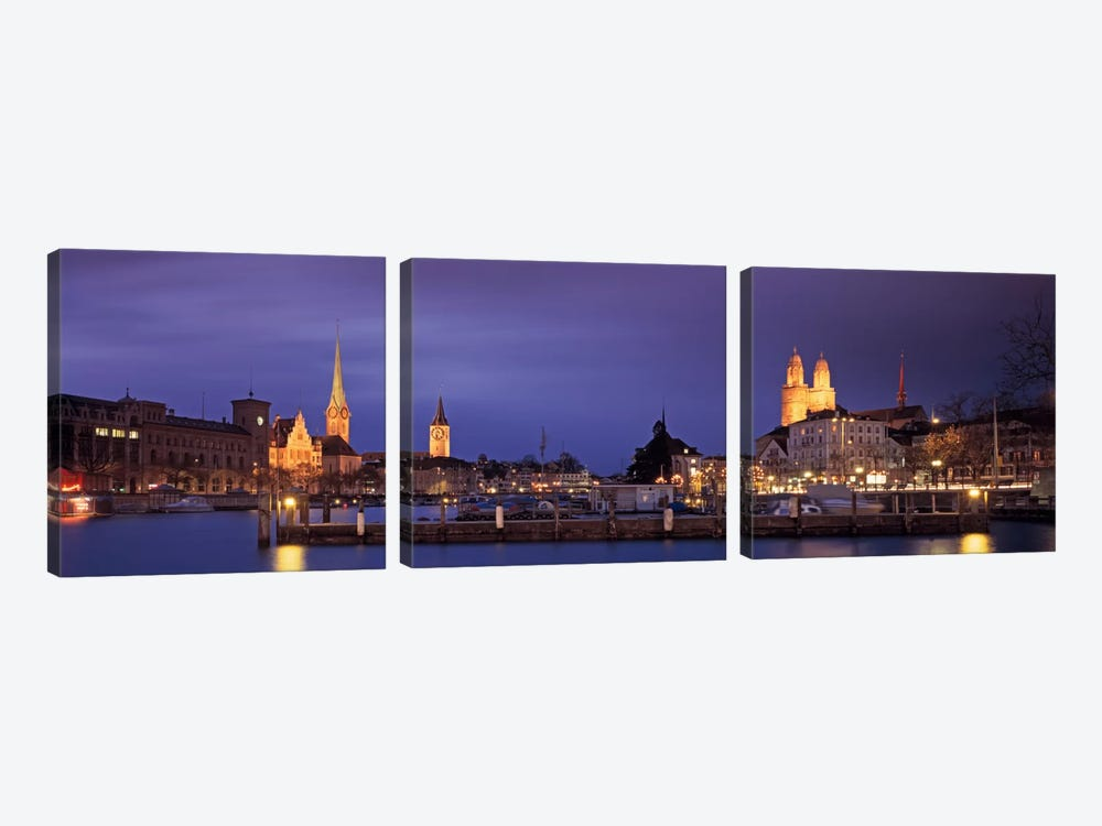 District 1 Architecture At Night, Zurich, Switzerland by Panoramic Images 3-piece Art Print