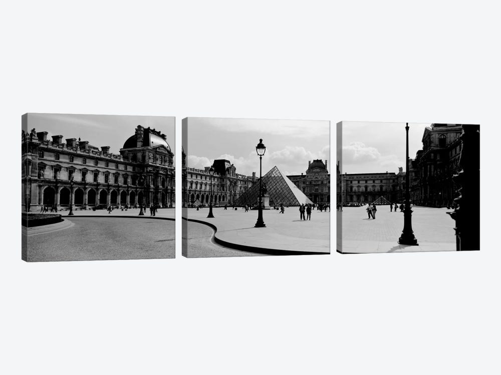 View Of The Courtyard, Musee du Louvre, Paris, Ile-de-France, France by Panoramic Images 3-piece Canvas Wall Art