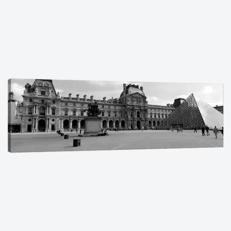Musee du Louvre In B&W, Paris, Ile-de-France, France Canvas Print #PIM1977} by Panoramic Images Canvas Art