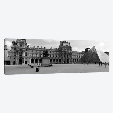 Musee du Louvre In B&W, Paris, Ile-de-France, France Canvas Print #PIM1977} by Panoramic Images Canvas Art