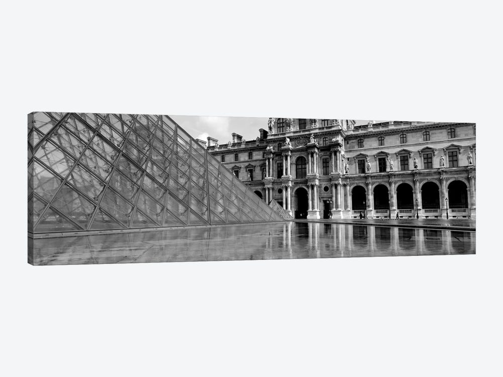 Pyramid in front of an art museum, Musee Du Louvre, Paris, France 1-piece Canvas Art Print