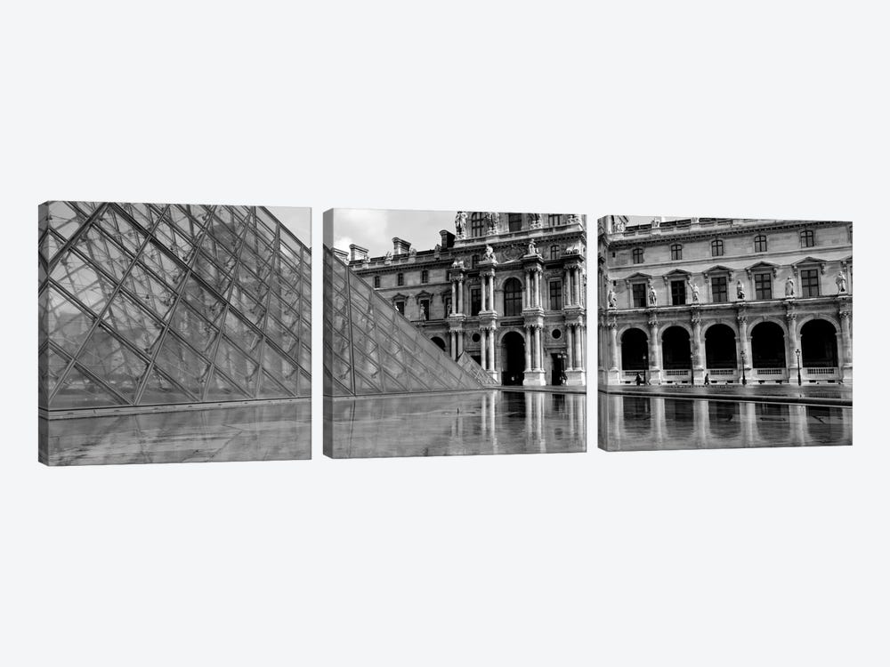 Pyramid in front of an art museum, Musee Du Louvre, Paris, France by Panoramic Images 3-piece Art Print