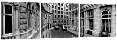 Buildings along a road, London, England Canvas Art Print