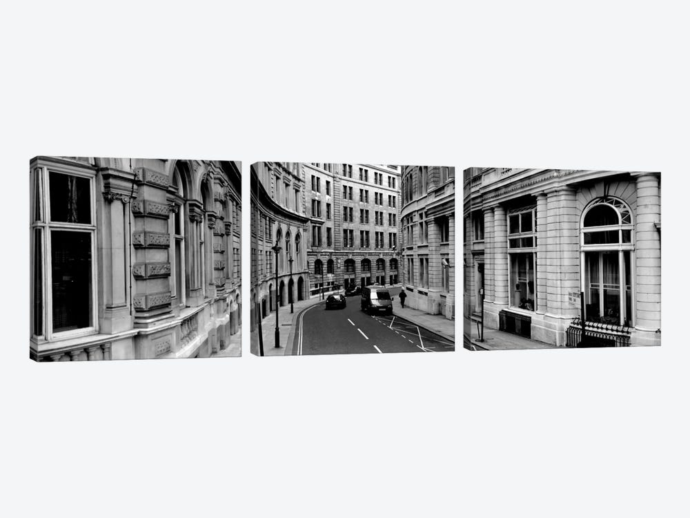 Buildings along a road, London, England 3-piece Canvas Wall Art