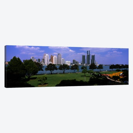 Trees in a park with buildings in the background, Detroit, Wayne County, Michigan, USA Canvas Print #PIM197} by Panoramic Images Art Print