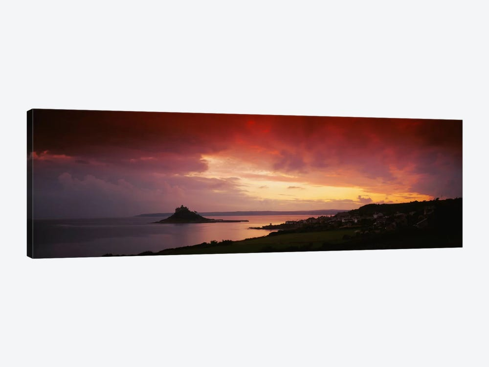 Clouds over an island, St. Michael's Mount, Cornwall, England by Panoramic Images 1-piece Canvas Artwork