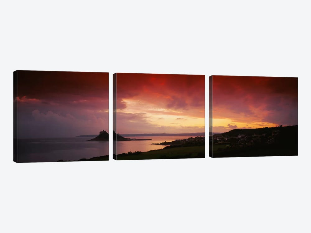 Clouds over an island, St. Michael's Mount, Cornwall, England by Panoramic Images 3-piece Canvas Artwork