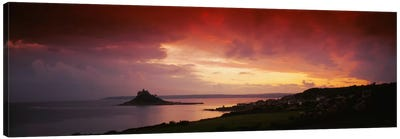 Clouds over an island, St. Michael's Mount, Cornwall, England Canvas Art Print