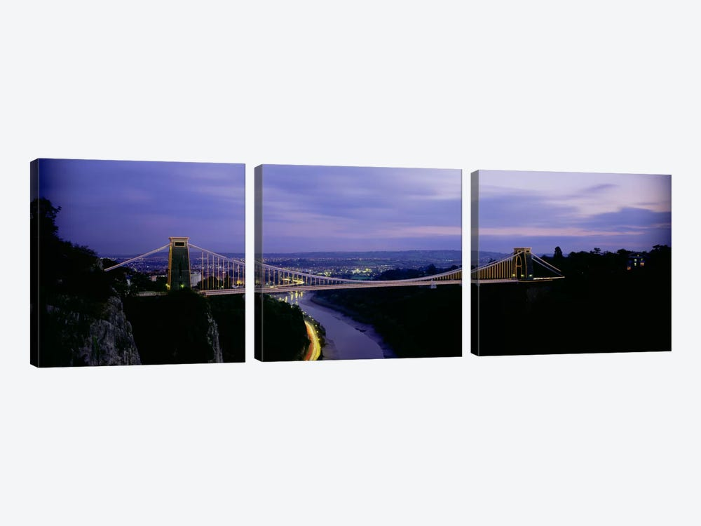 Clifton Suspension Bridge At Night, Bristol, England, United Kingdom by Panoramic Images 3-piece Canvas Wall Art