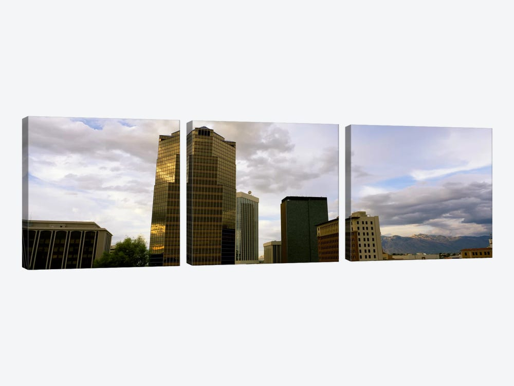 Buildings in a city with mountains in the background, Tucson, Arizona, USA 3-piece Canvas Art Print