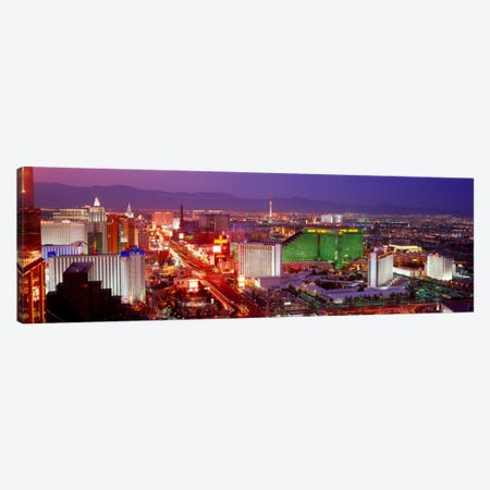 Buildings lit up at dusk in a city, Las Vegas, Clark County, Nevada, USA Canvas Print #PIM1991} by Panoramic Images Canvas Art Print