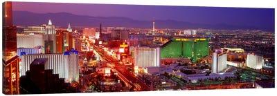 Buildings lit up at dusk in a city, Las Vegas, Clark County, Nevada, USA Canvas Art Print