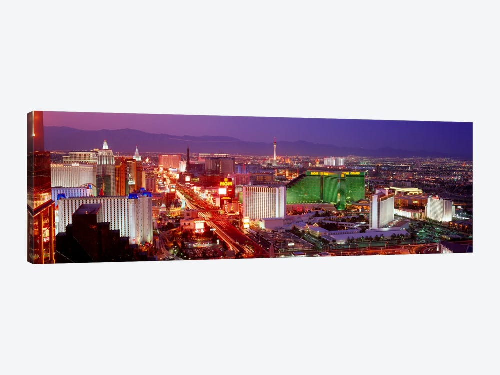 Buildings lit up at dusk in a city, Las Vegas, Clark County, Nevada, USA by Panoramic Images 1-piece Canvas Wall Art