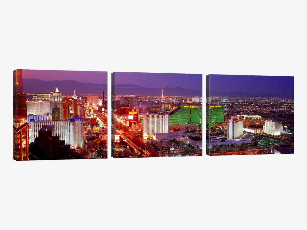 Buildings lit up at dusk in a city, Las Vegas, Clark County, Nevada, USA by Panoramic Images 3-piece Canvas Artwork