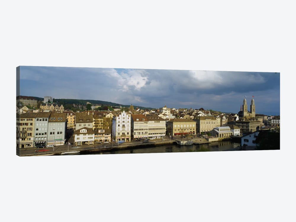 High Angle View Of A City, Grossmunster Cathedral, Zurich, Switzerland by Panoramic Images 1-piece Canvas Art Print