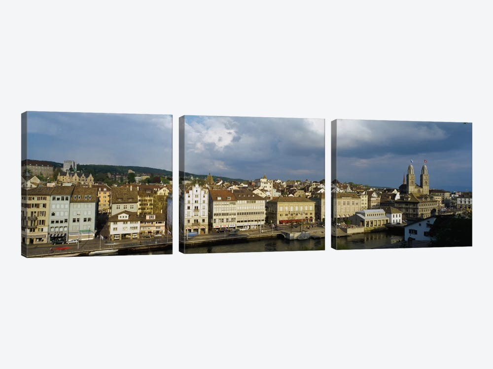 High Angle View Of A City, Grossmunster Cathedral, Zurich, Switzerland by Panoramic Images 3-piece Art Print