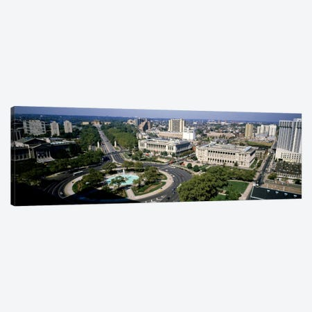 Aerial view of buildings in a city, Logan Circle, Ben Franklin Parkway, Philadelphia, Pennsylvania, USA Canvas Print #PIM1} by Panoramic Images Canvas Artwork