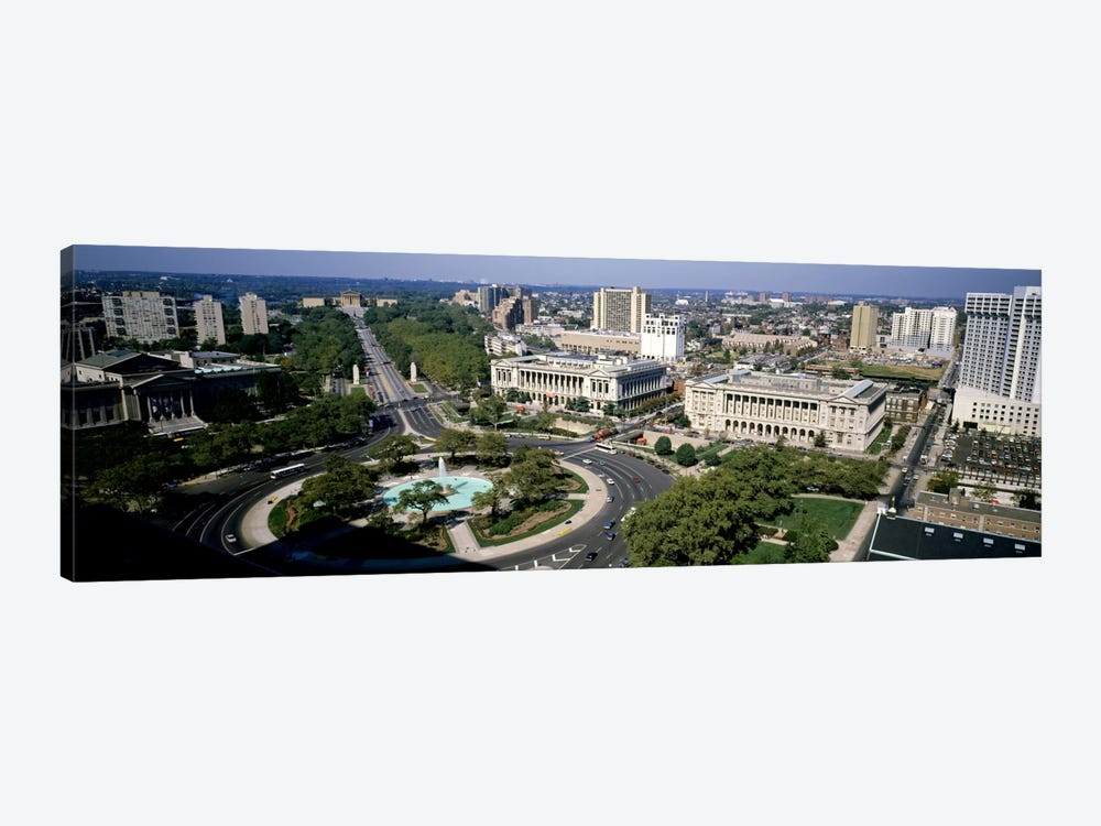 Aerial view of buildings in a city, Logan Circle, Ben Franklin Parkway, Philadelphia, Pennsylvania, USA by Panoramic Images 1-piece Canvas Art Print