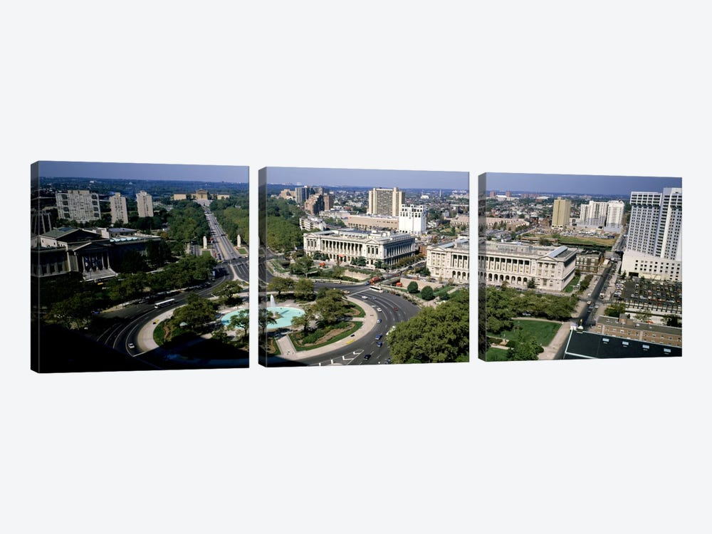 Aerial view of buildings in a city, Logan Circle, Ben Franklin Parkway, Philadelphia, Pennsylvania, USA by Panoramic Images 3-piece Art Print