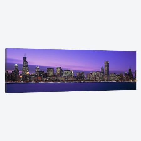 Downtown Skyline At Dusk, Chicago, Illinois, USA Canvas Print #PIM2000} by Panoramic Images Canvas Print